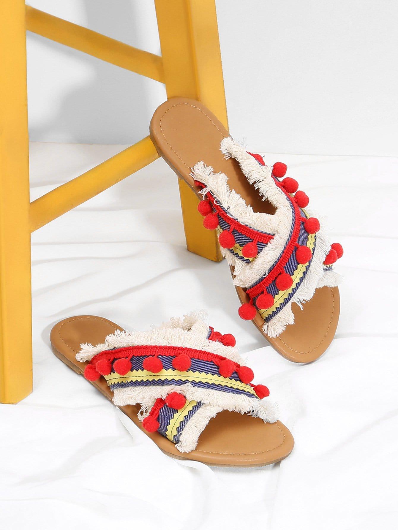 Criss Cross Flat Sandals With Pom Pom pom pom detail tie leg flat sandals