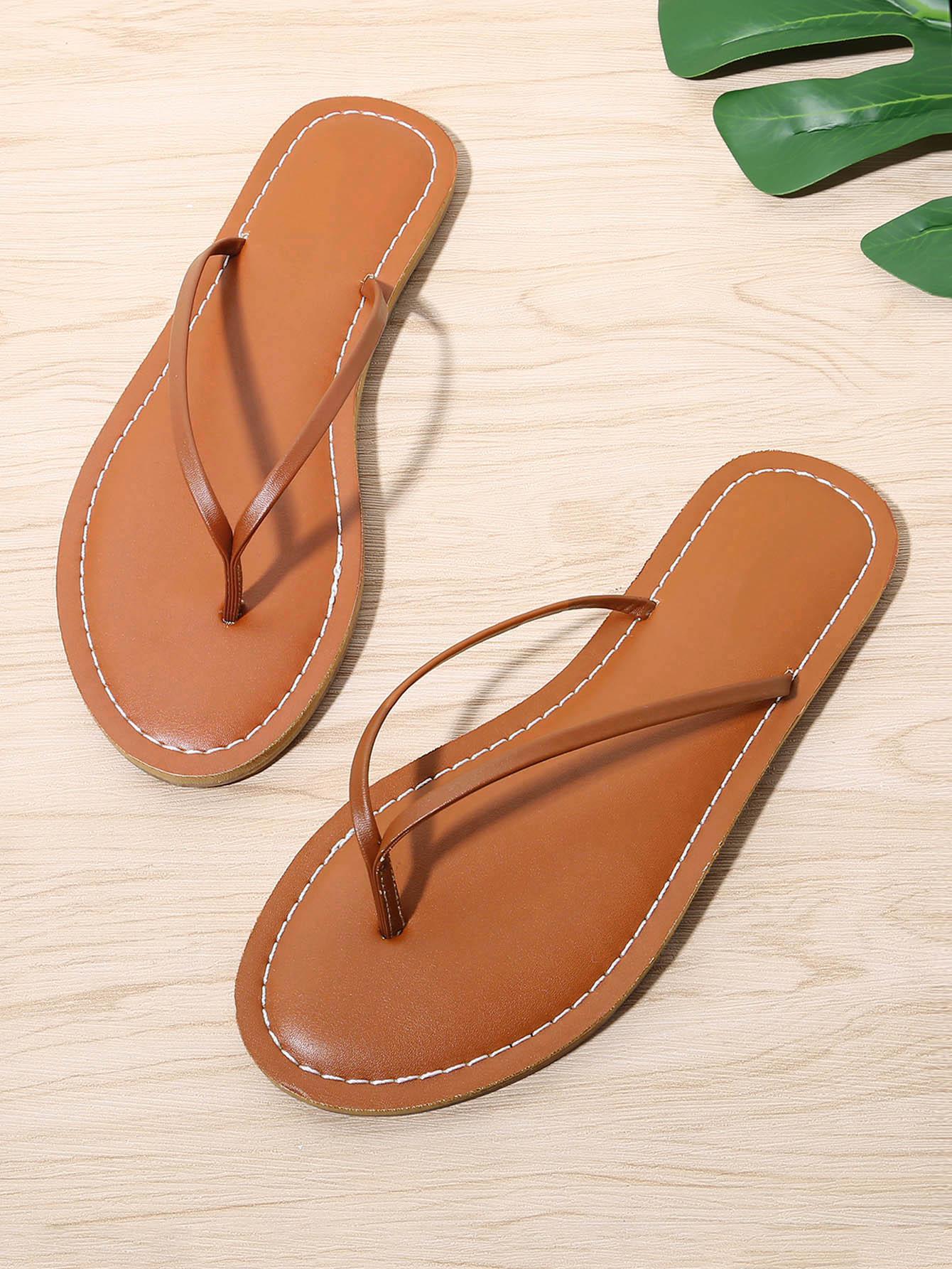 Купить Toe Post PU плоские сандалии, null, SheIn
