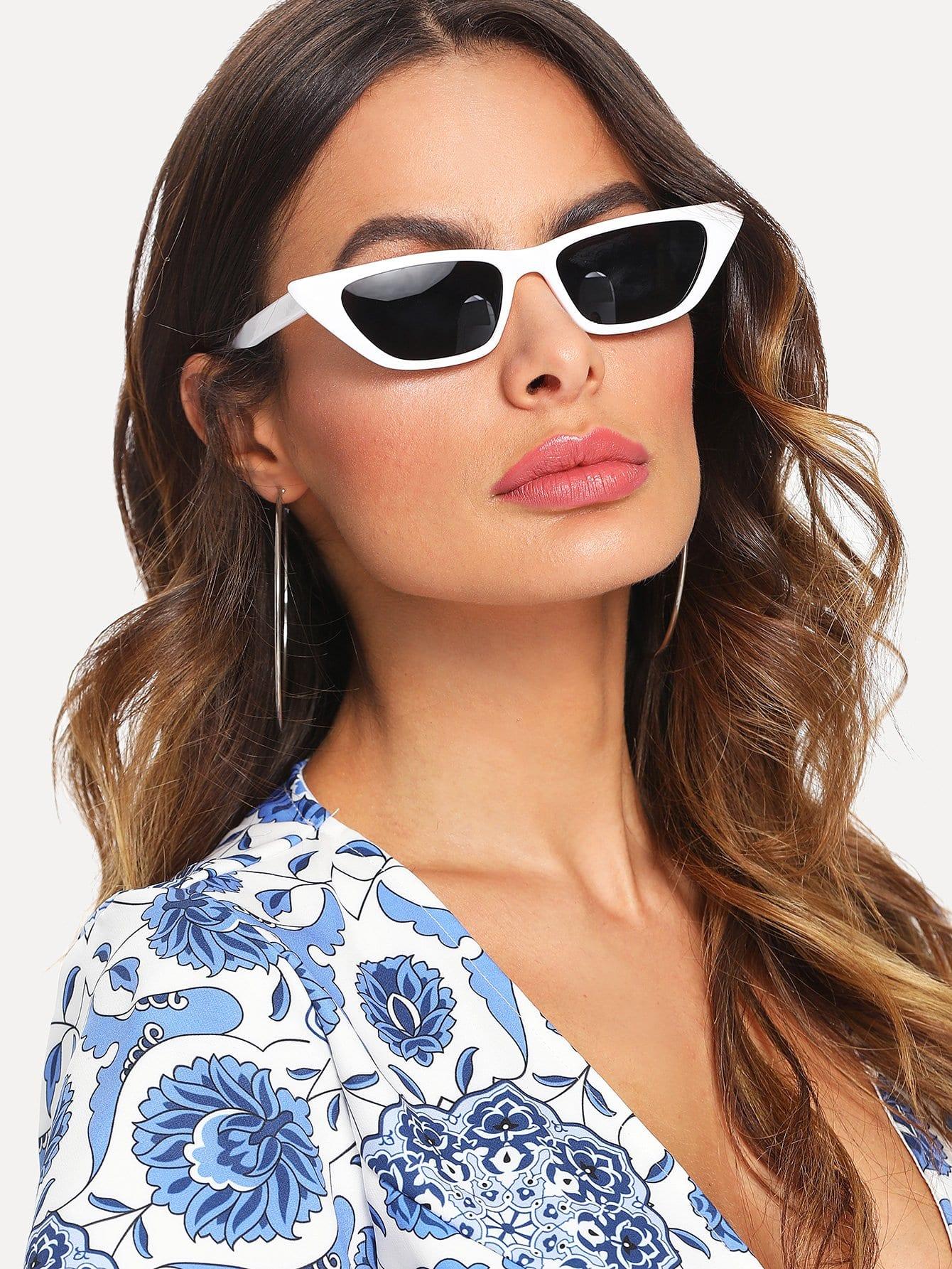 Cat Eye Mirror Lens Sunglasses triangle design mirror lens sunglasses
