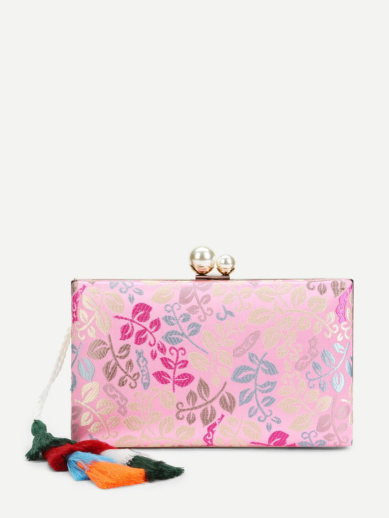 Leaf Print Clutch Bag With Tassel leaf print tassel table runner