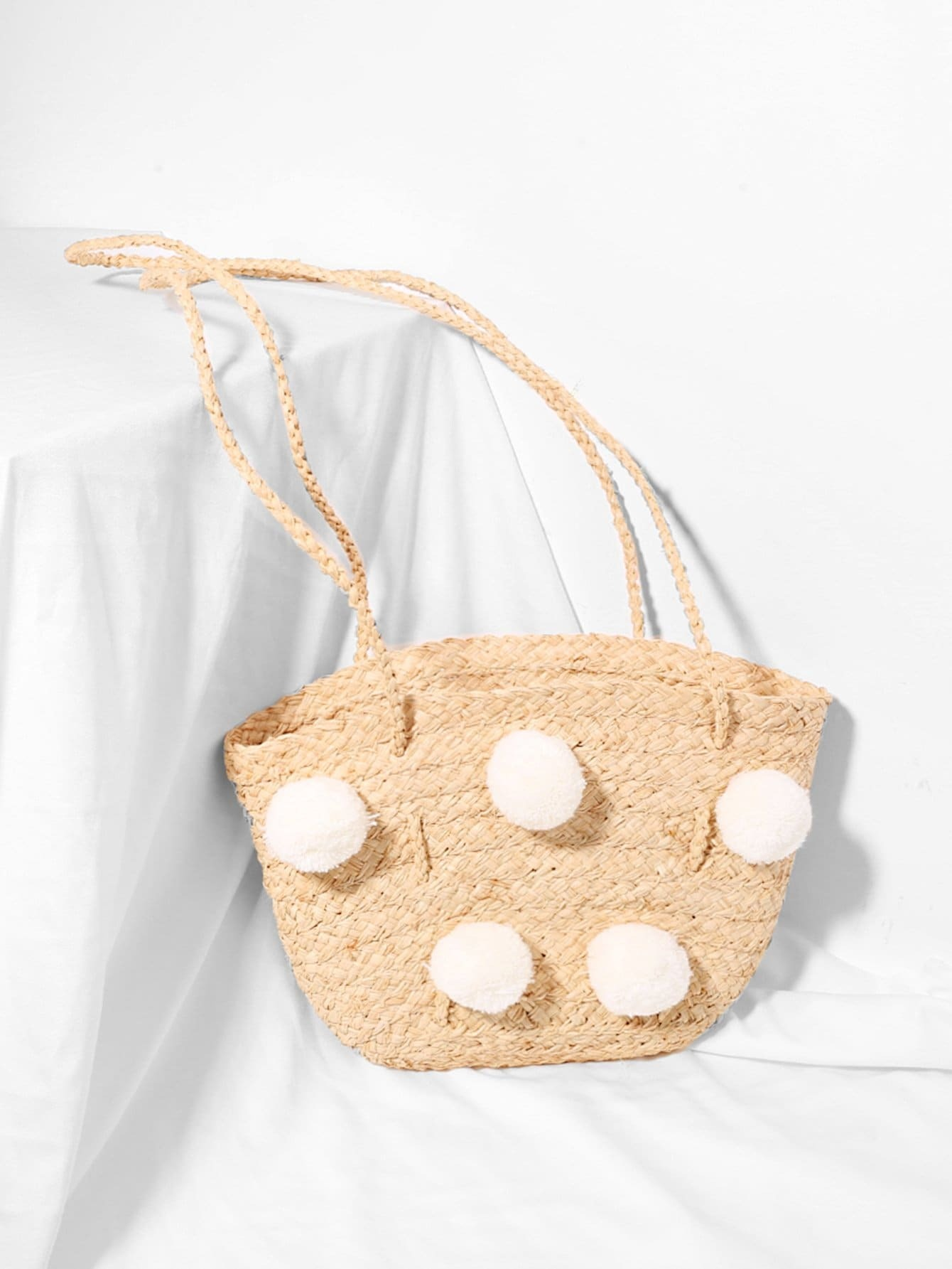 Pom Pom Decorated Straw Shoulder Bag rhinestone decorated shoulder bag