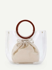 Ring Handle Tote Bag With Inner Pouch