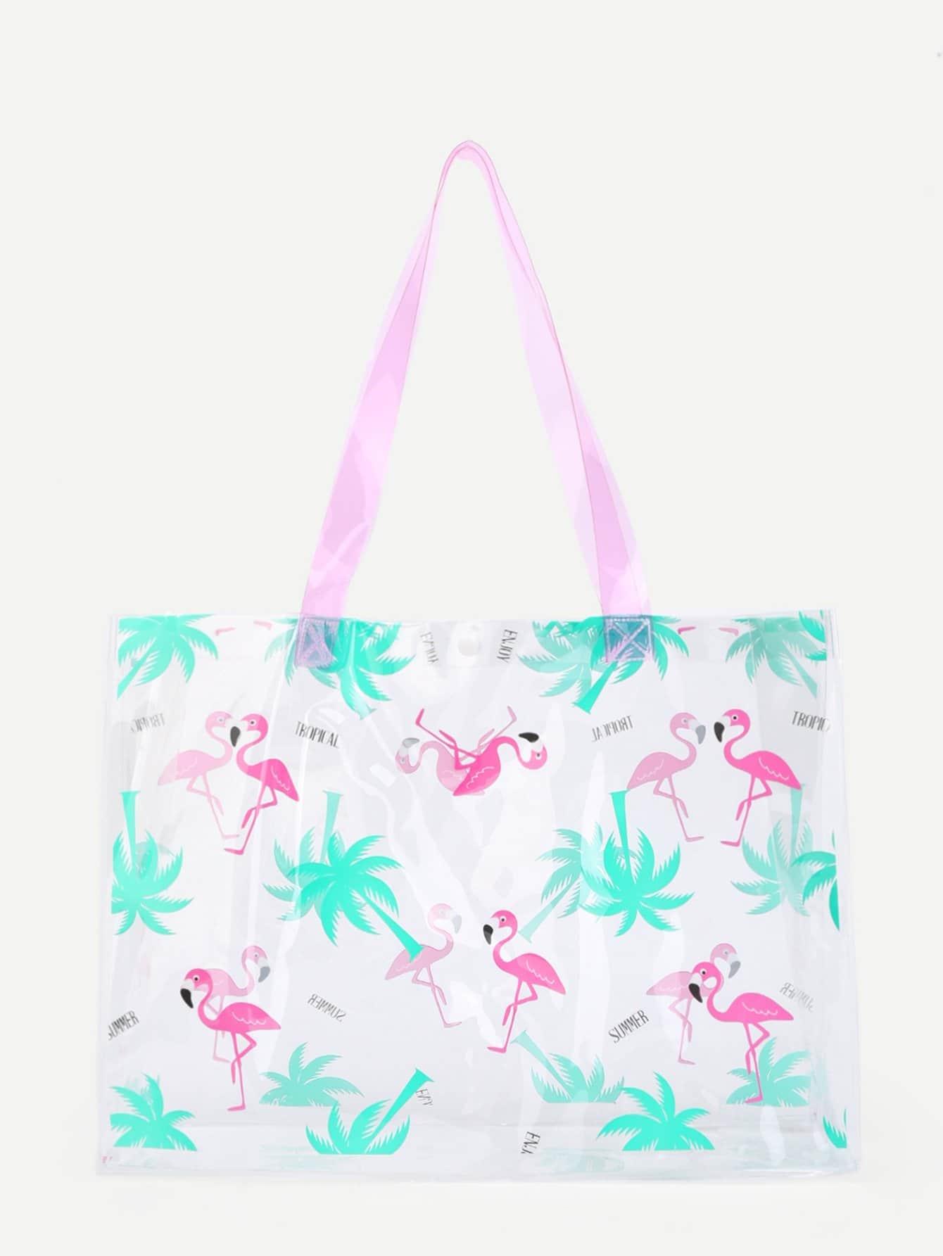 Flamingo Print Clear Tote Bag straw flamingo embroidered tote bag