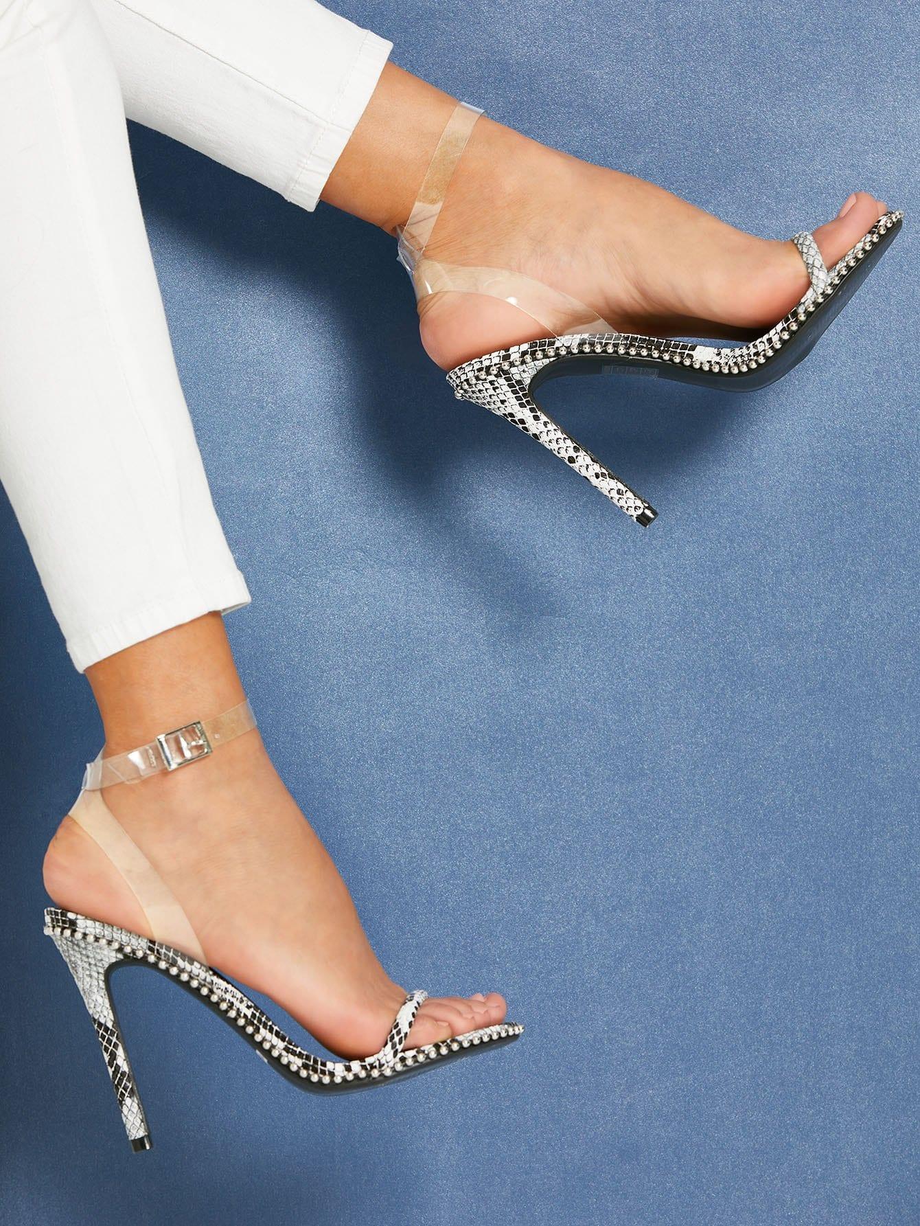 Ankle Strap Snakeskin Print Stiletto Heels stiletto metallic ankle strap heels