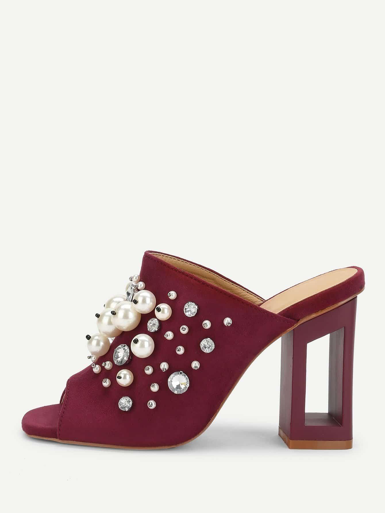 Купить Искусственные жемчужины, украшенные короткими каблуками, null, SheIn