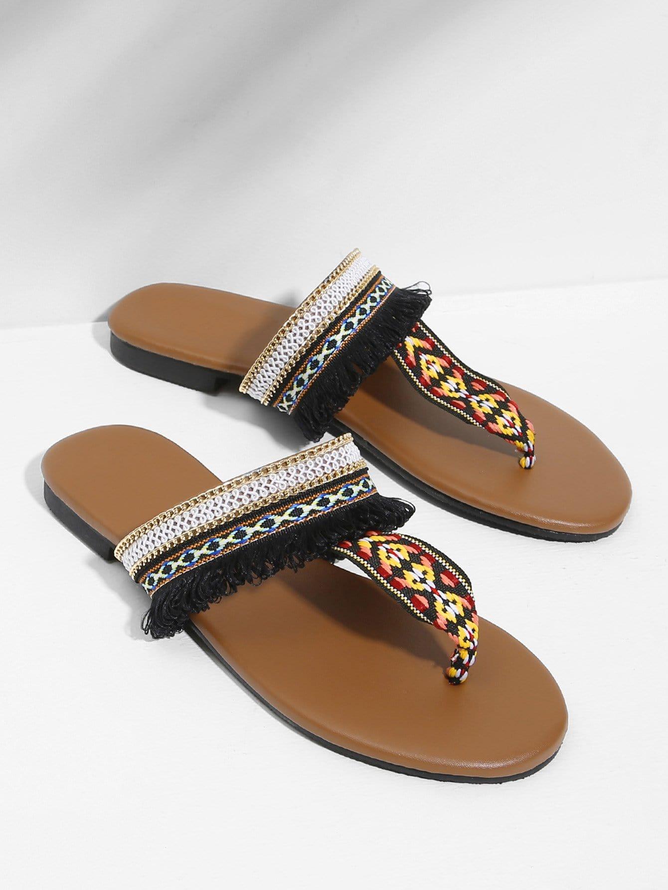 Toe Post Flat Sandals rose decorated toe post flat sandals