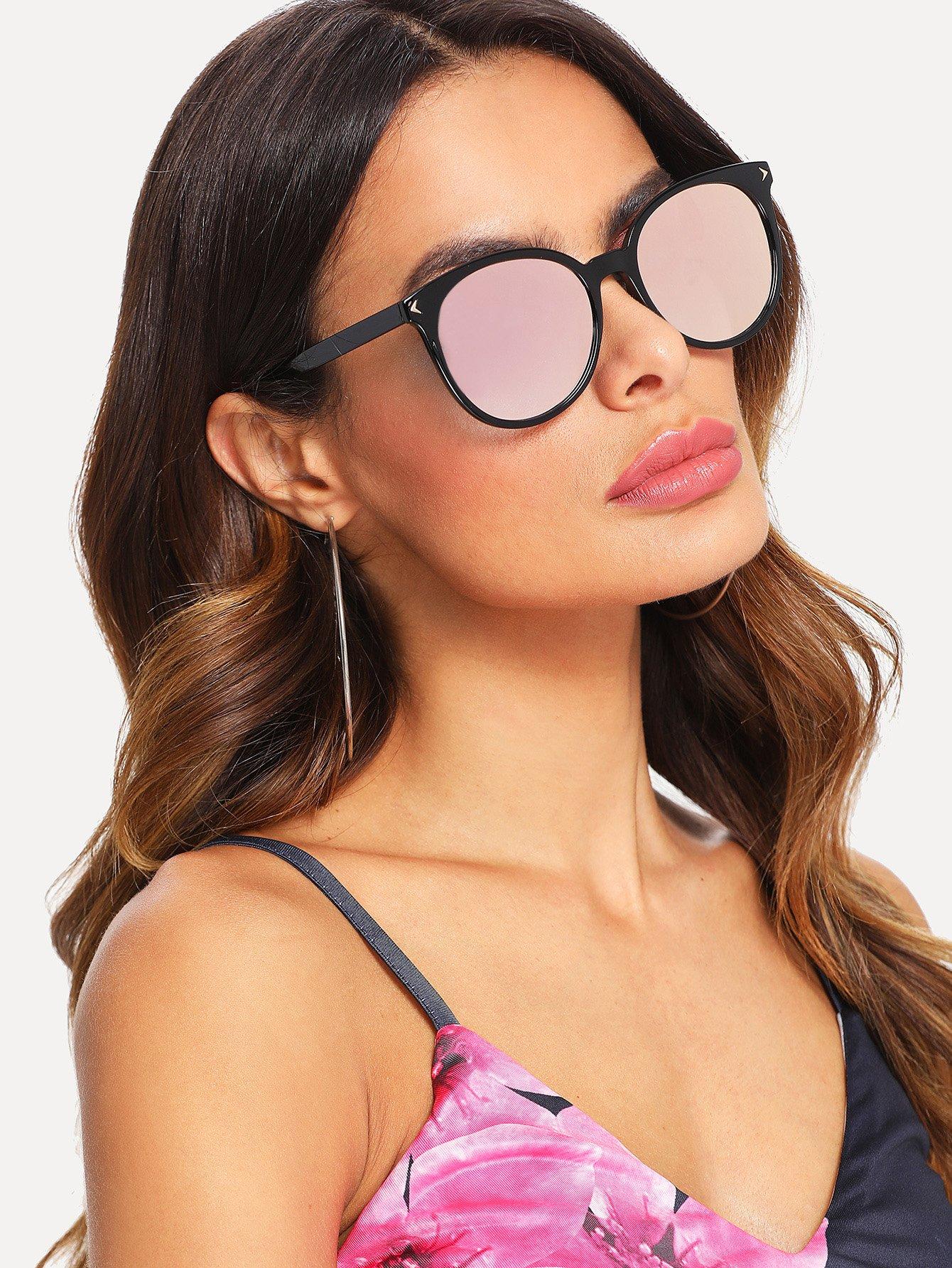 Mirror Lens Cat Eye Sunglasses triangle design mirror lens sunglasses