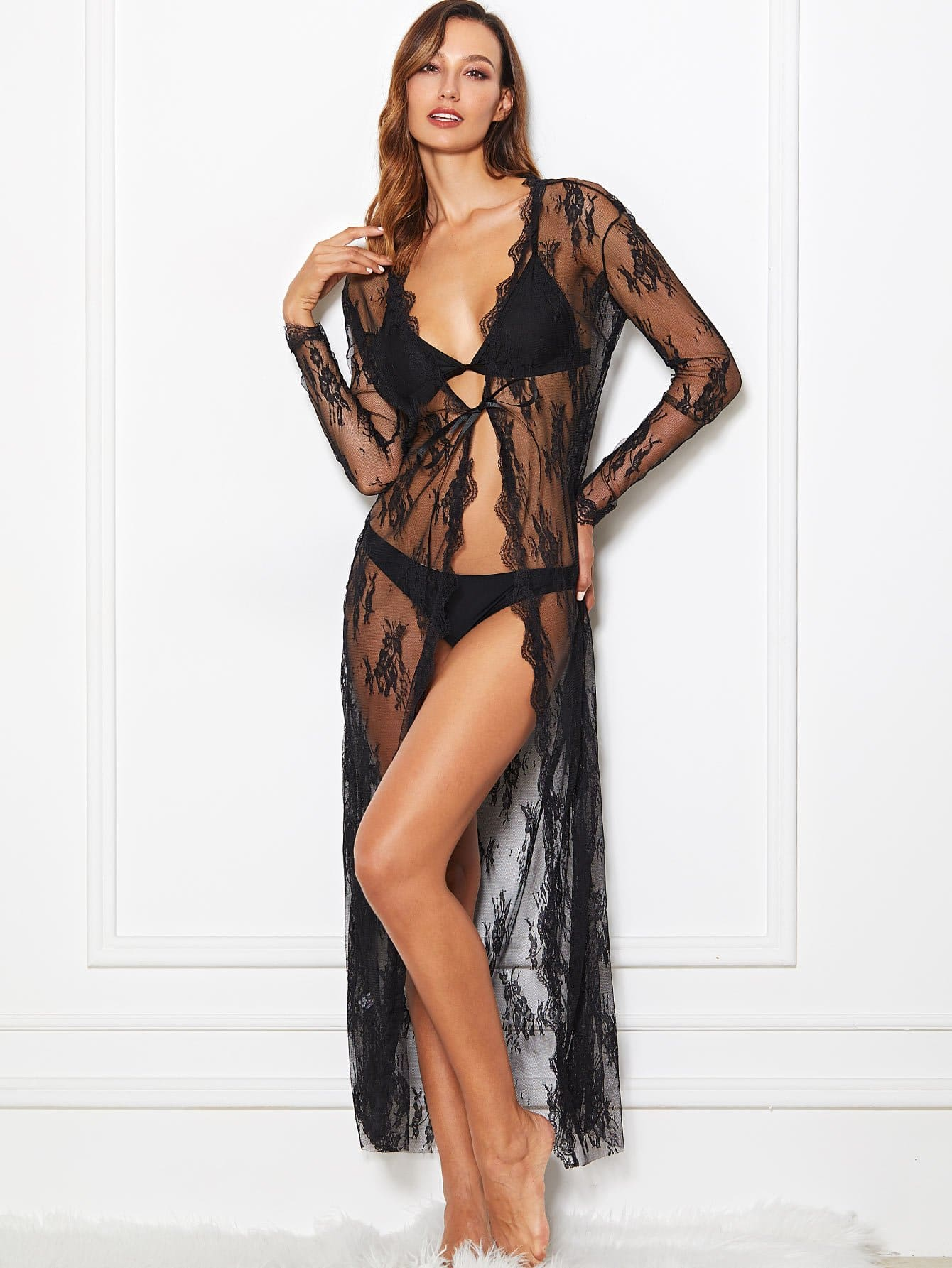 Scalloped Trim Lace Robe With Thong