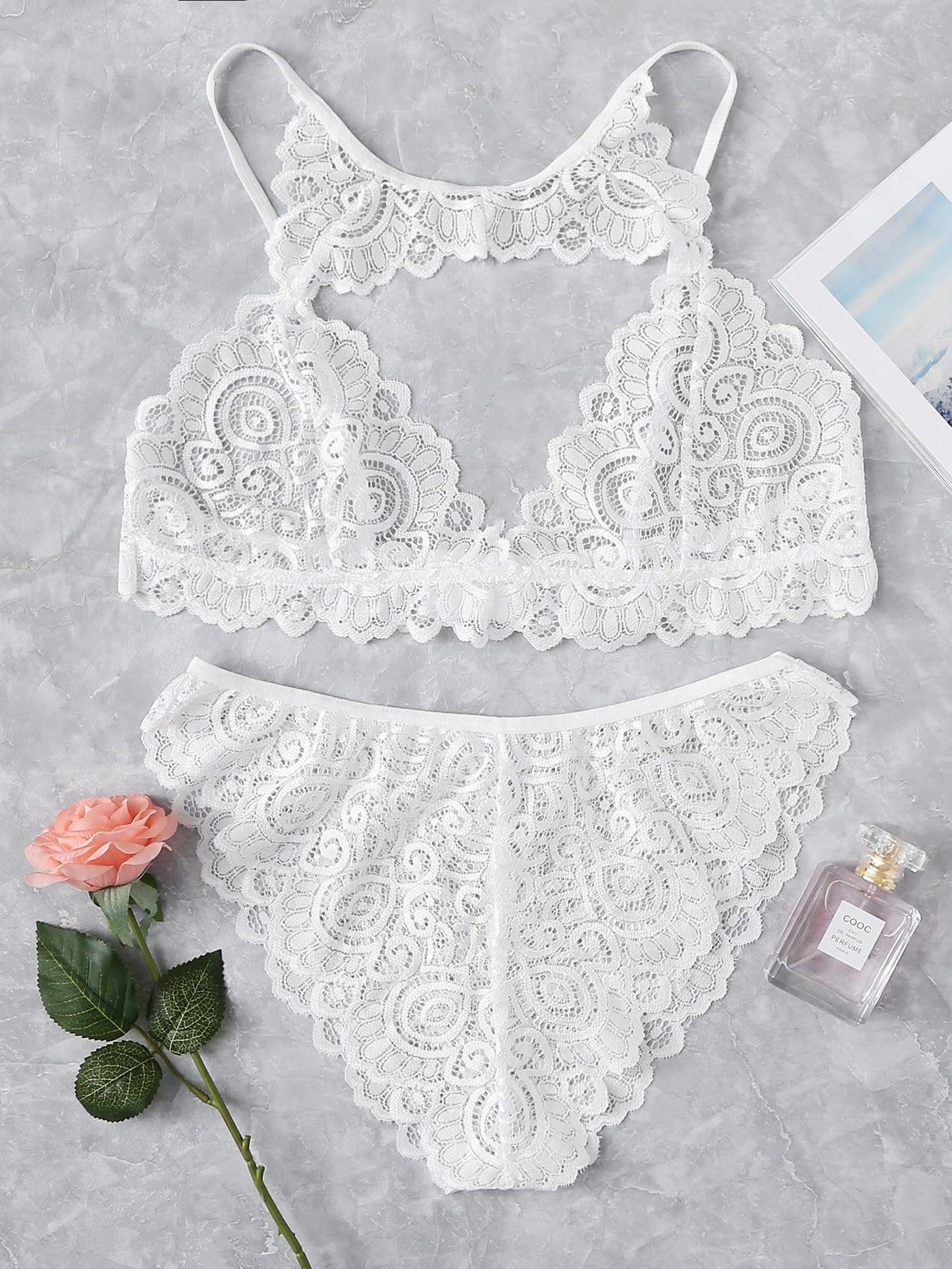 Plus Cut Out Lace Lingerie Set lace insert cut out strappy lingerie set