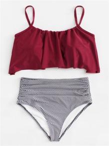 Flounce Striped Bikini Set
