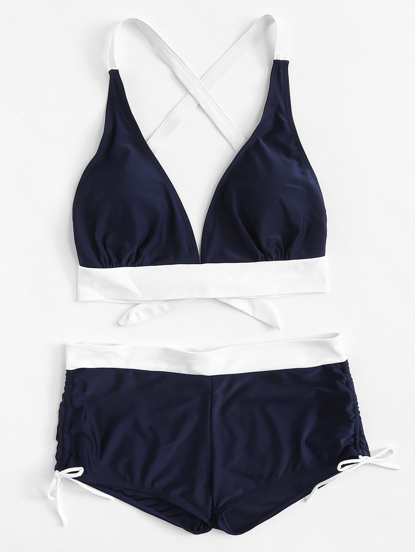 Contrast Trim Cross Back Bikini Set contrast trim criss cross halter bikini