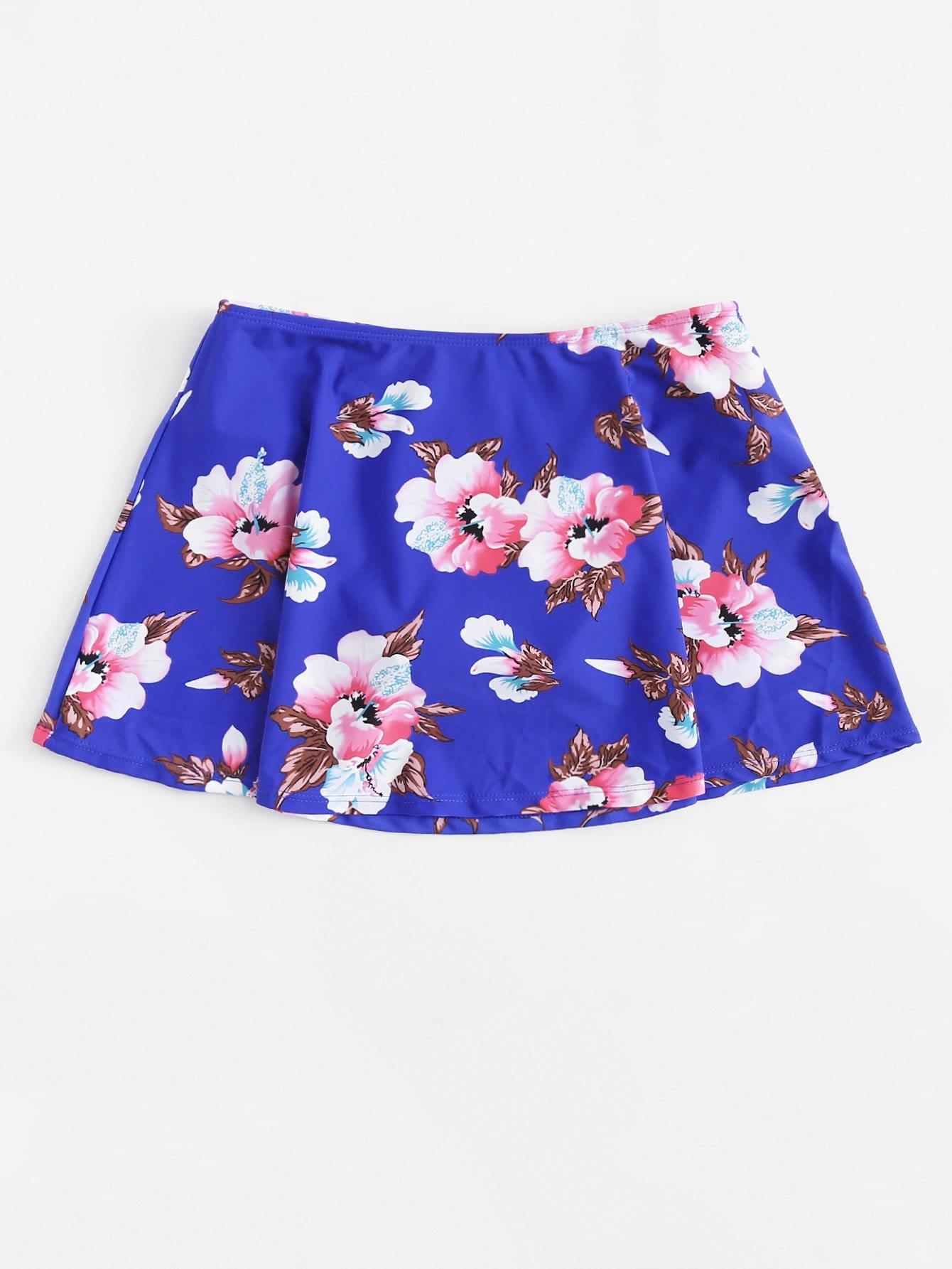 Plus Flower Print Swim Skort