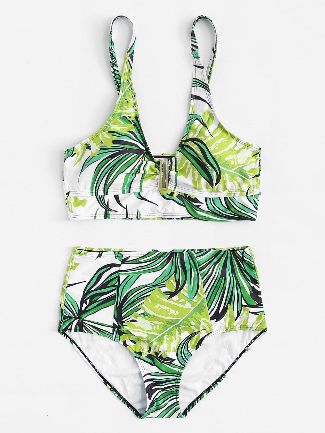 Tropical Print Bikini Set tropical print string bikini set