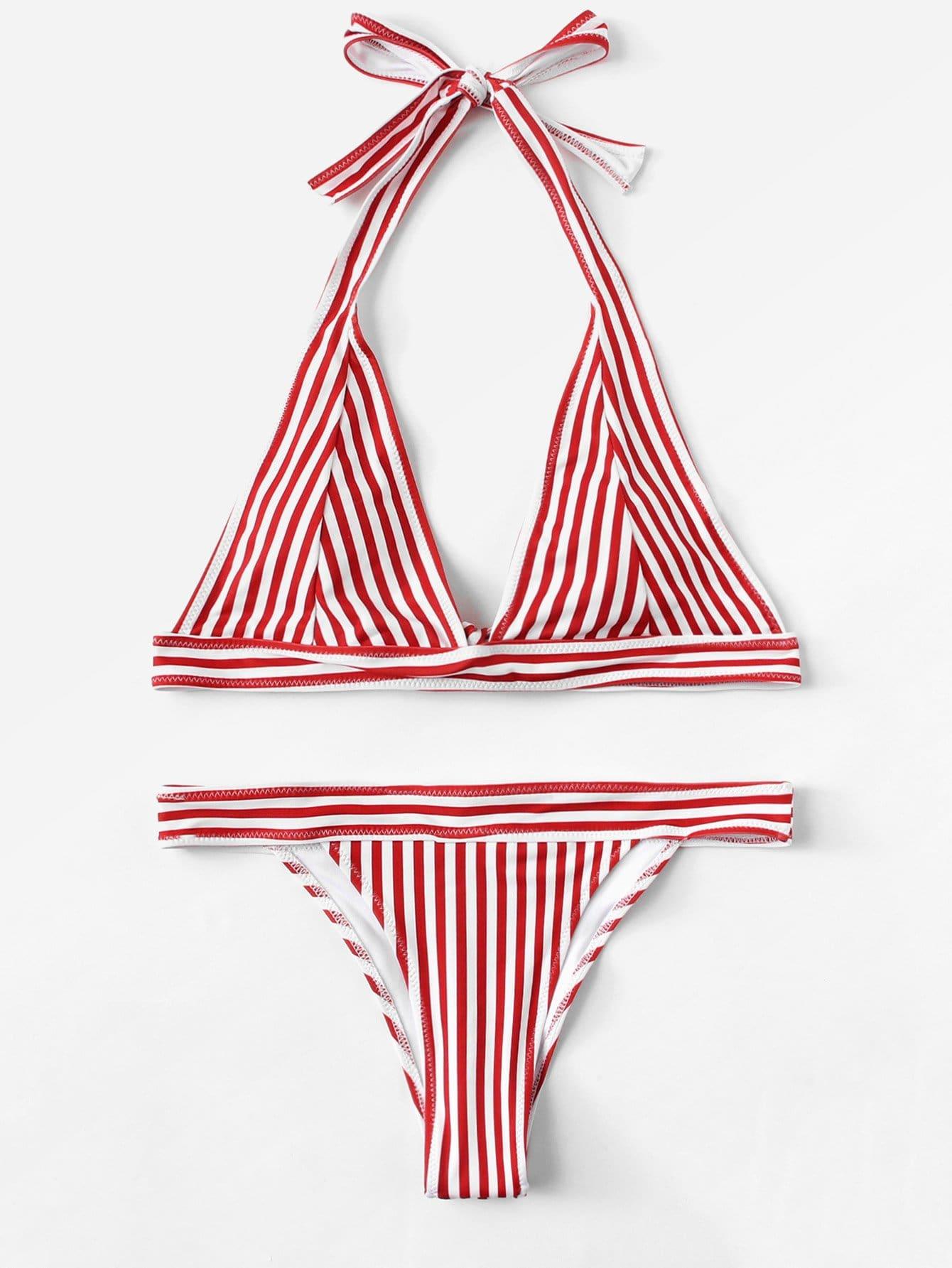 Striped Halter Bikini Set halter striped low cut bikini set