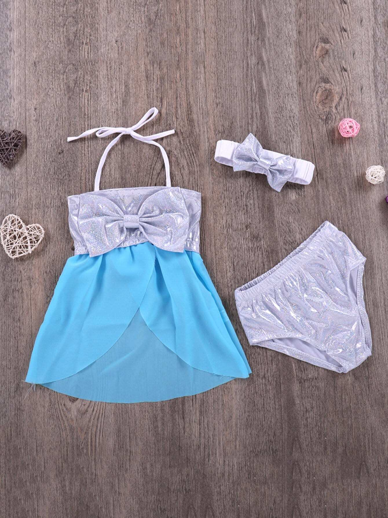 Girls Baby Girl Bow Decorated Glitter Bikini Set 2017 new cute golden sequined flower girl dresses baby little girls ball gowns dresses with big bow for one year birthday dress
