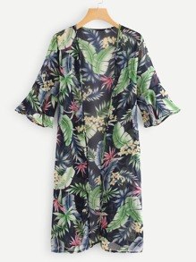 Leaves Print Flounce Sleeve Cardigan