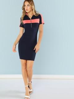 Color Block Zip Front Short Sleeve Dress