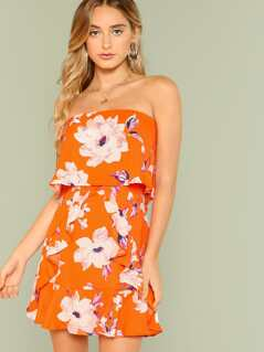 Floral Print Strapless Ruffle Dress