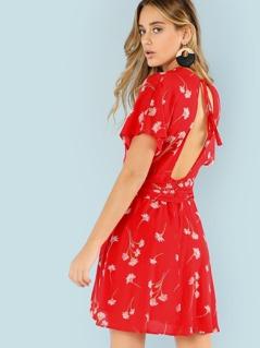 Deep V Neckline Floral Print Dress with Buttons