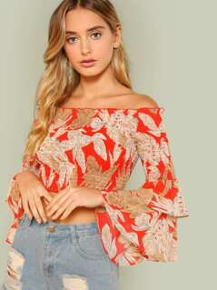 Tiered Bell Sleeve Palm Print Smocked Bardot Top