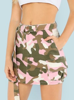 Camo Print Belted Skirt