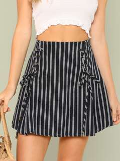 Pinstripe Mini Skirt with Lace Up Detail