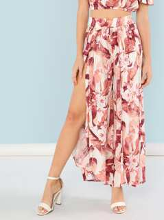 Tropical Print Open Leg Flowy Pants