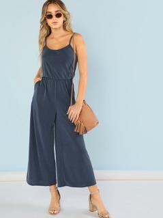 Blouson Waist Flare Leg Solid Cami Jumpsuit