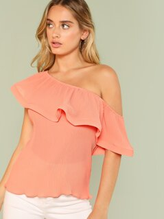 Pleated Off Shoulder Ruffle Top