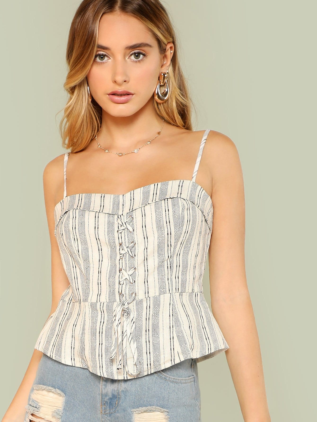 Lace Up Front Fold Over Striped Cami Top fold over button up front striped shirt dress