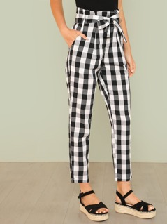 Gingham Print Tie Waist Paper Bag Pants