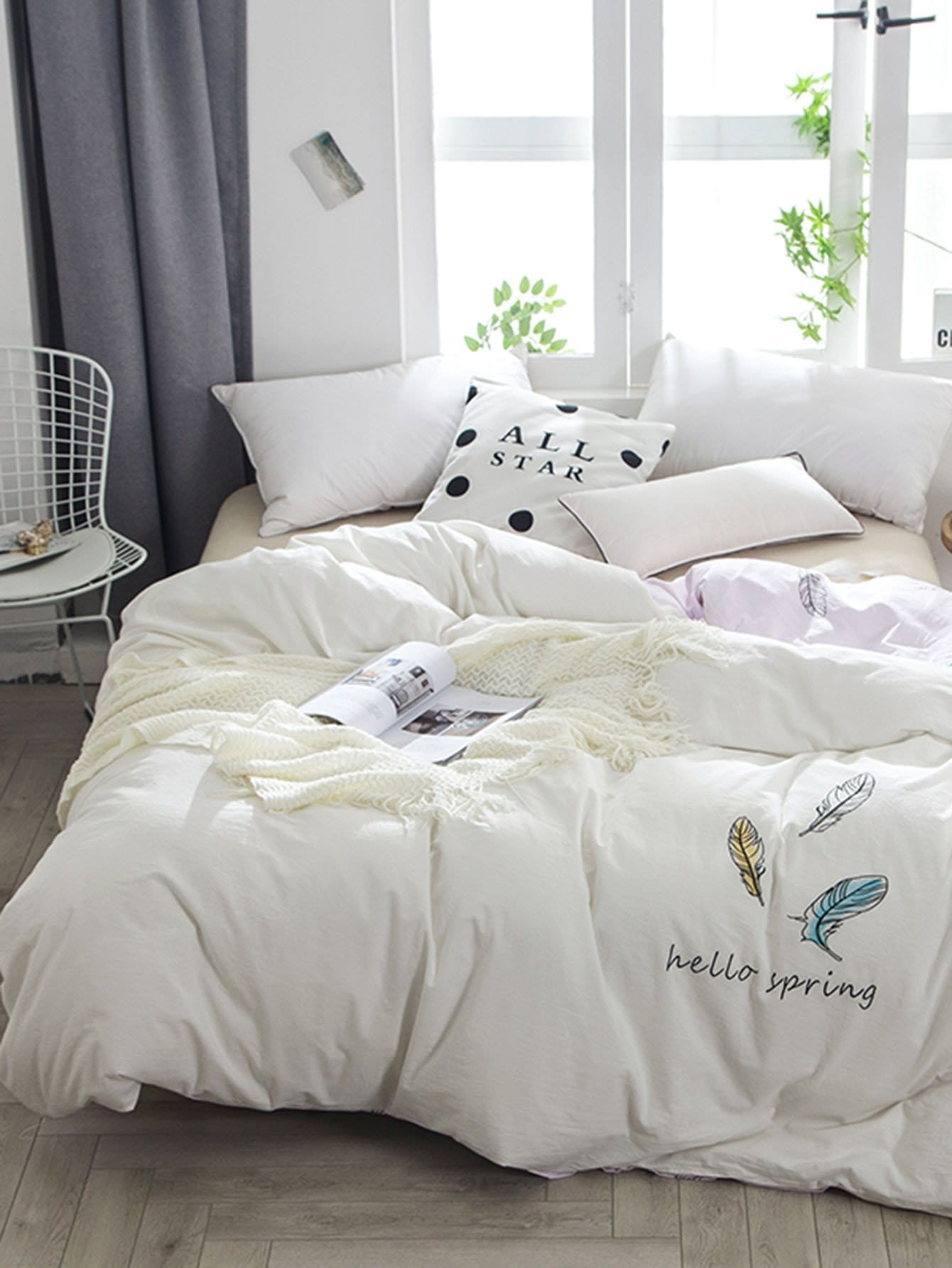 Feather & Letter Print Duvet Cover