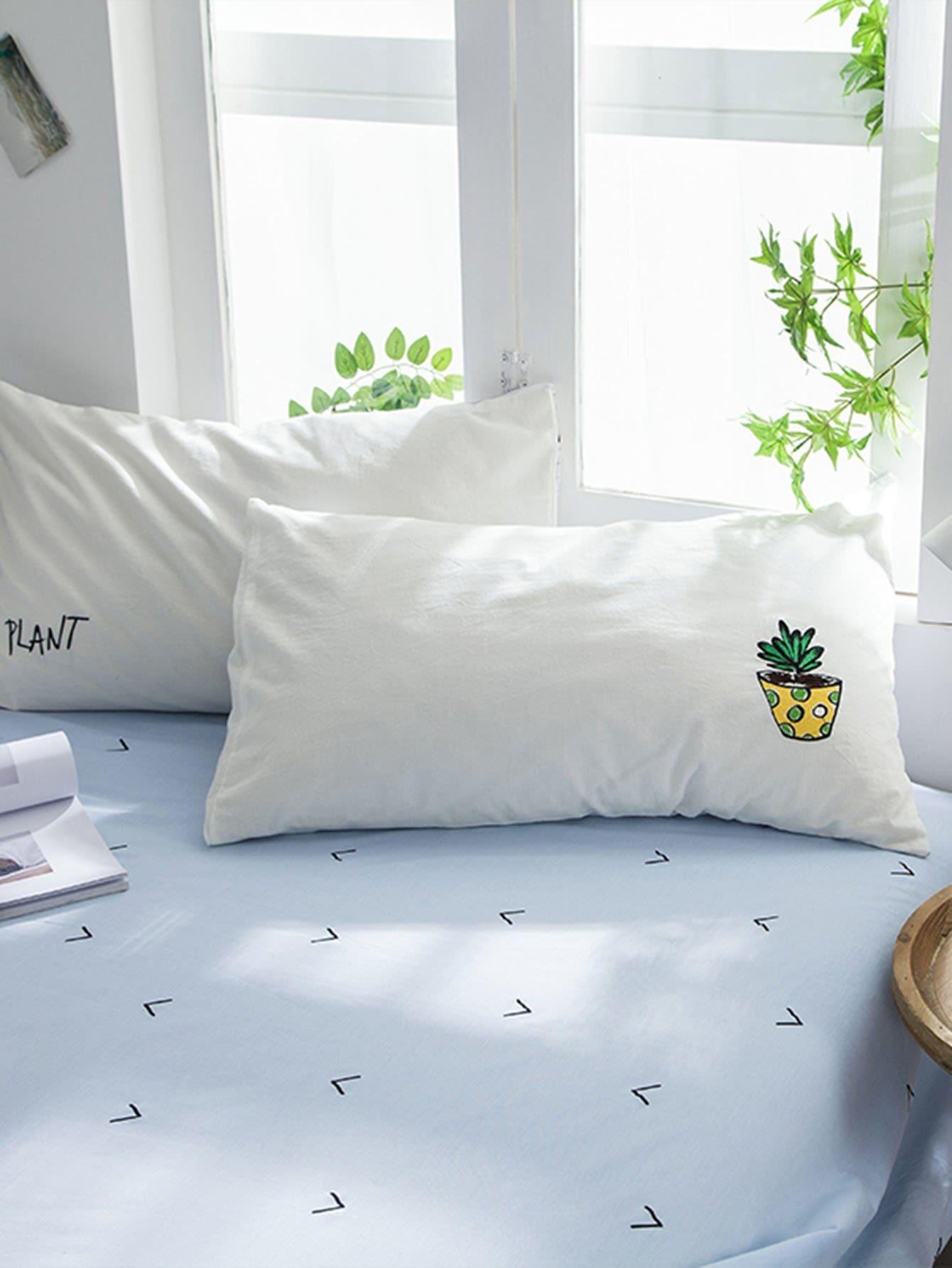 Plant & Letter Print Pillowcase Cover