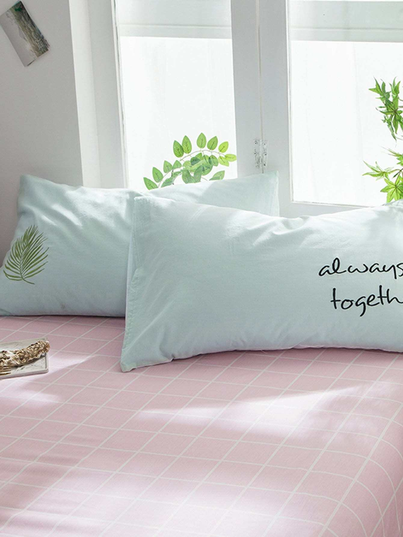 Leaf & Letter Print Pillowcase Cover
