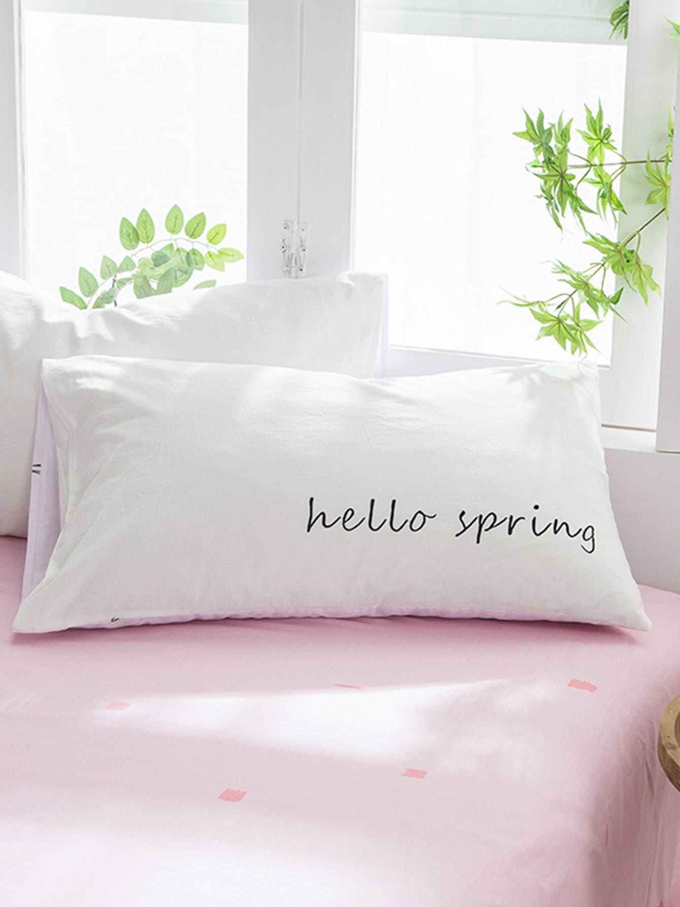 Feather & Letter Print Pillowcase Cover