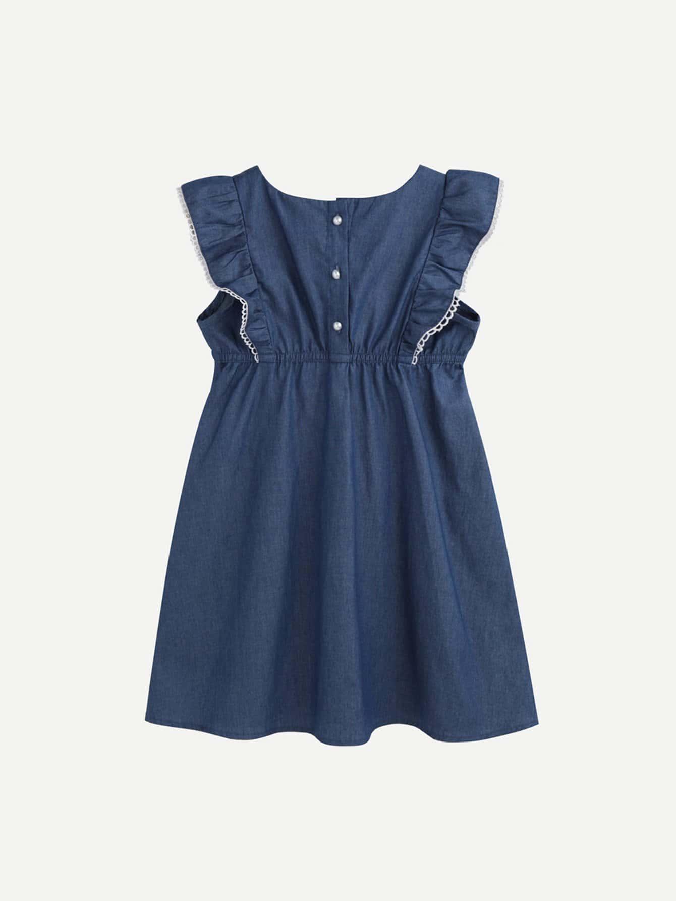 Kids Ruffle-Sleeve Lace Trim Dress