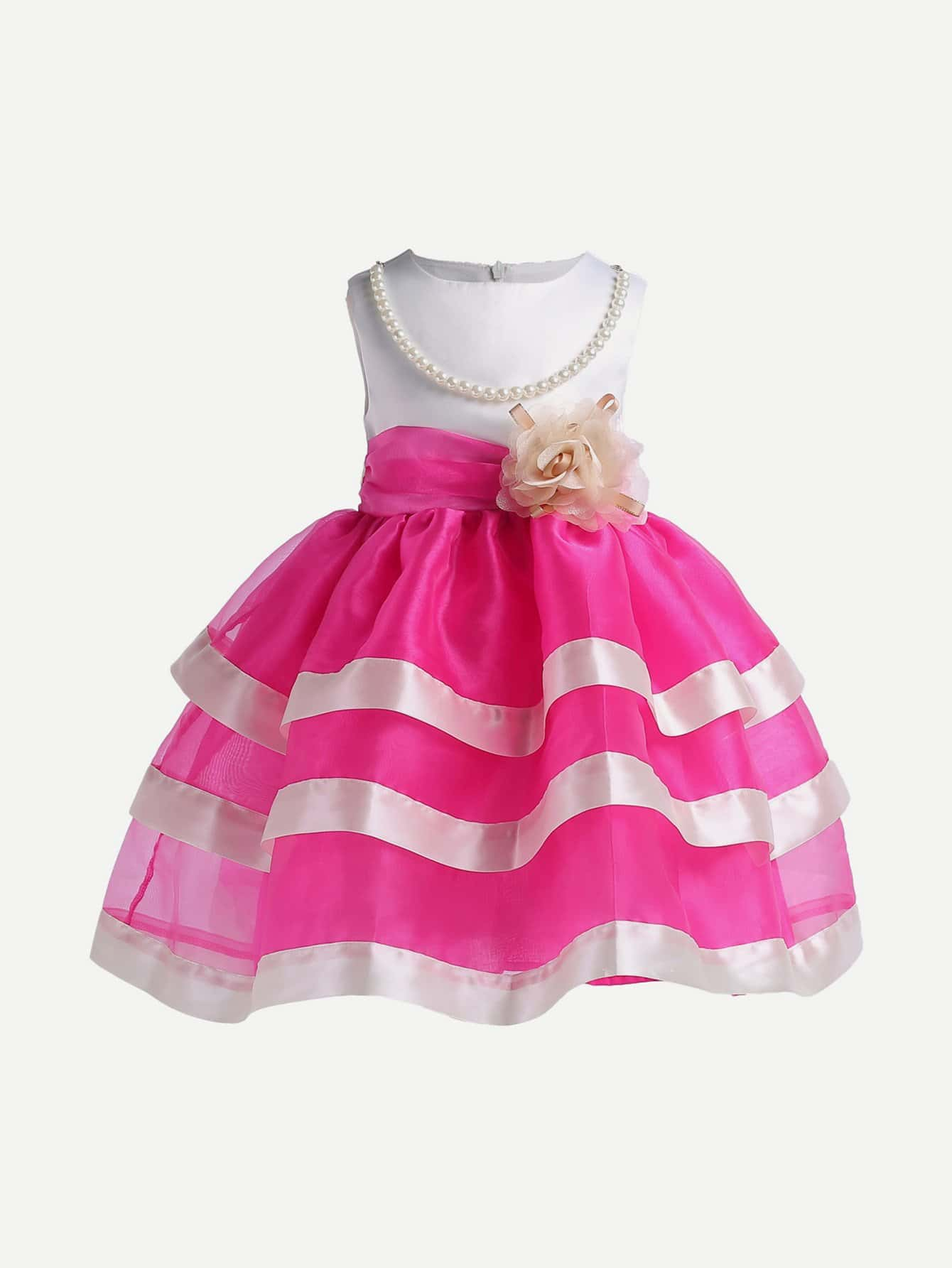 Фото Kids Striped Flower And Pearl Tulle Dress
