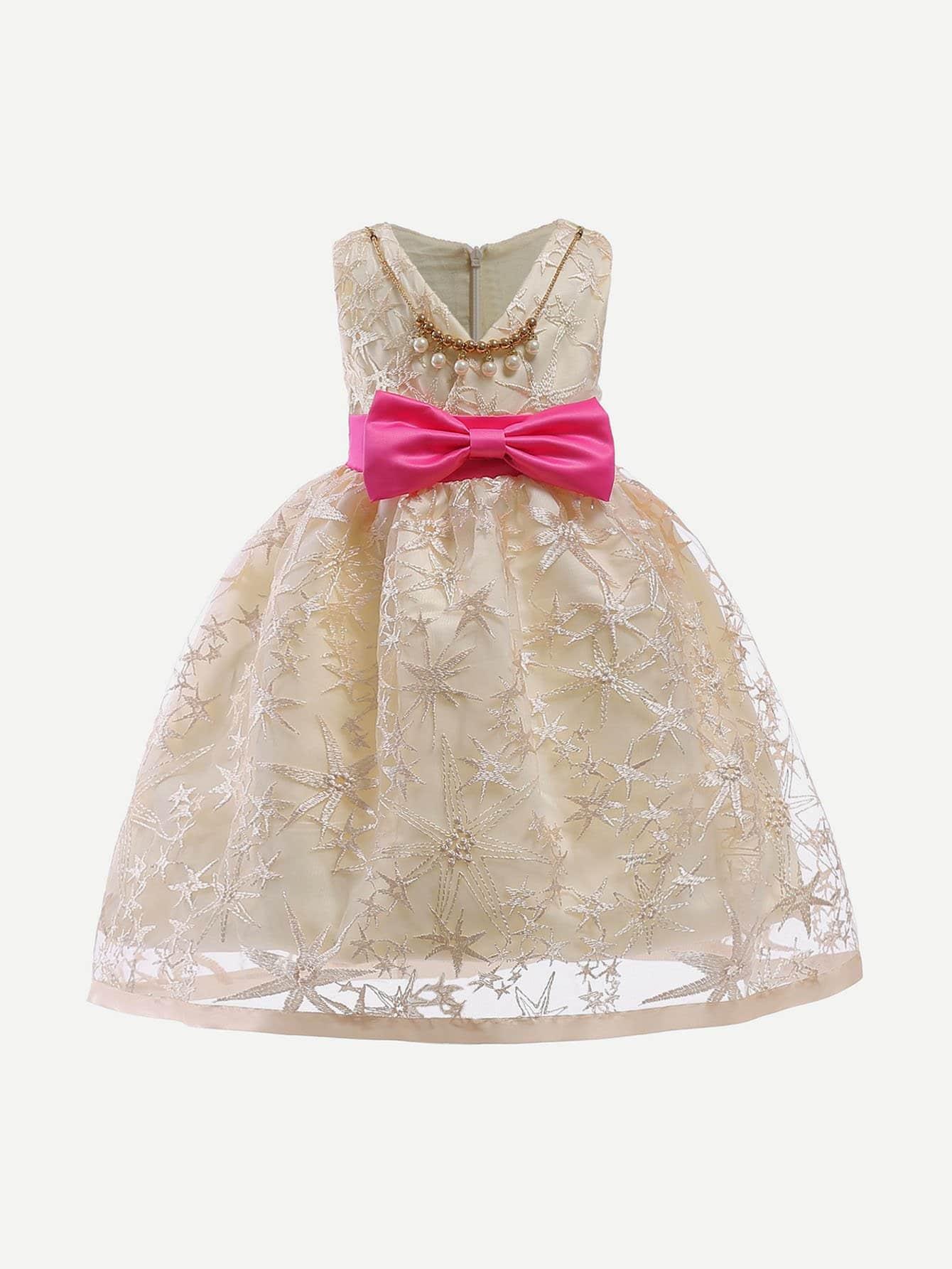 Kids Lace Contrast Ribbon Bow Dress