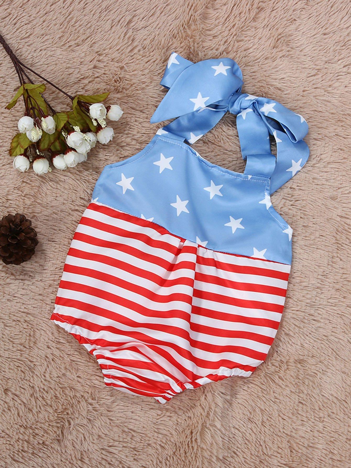 Kinder Body mit amerikanischem Flaggemuster und Neckholder