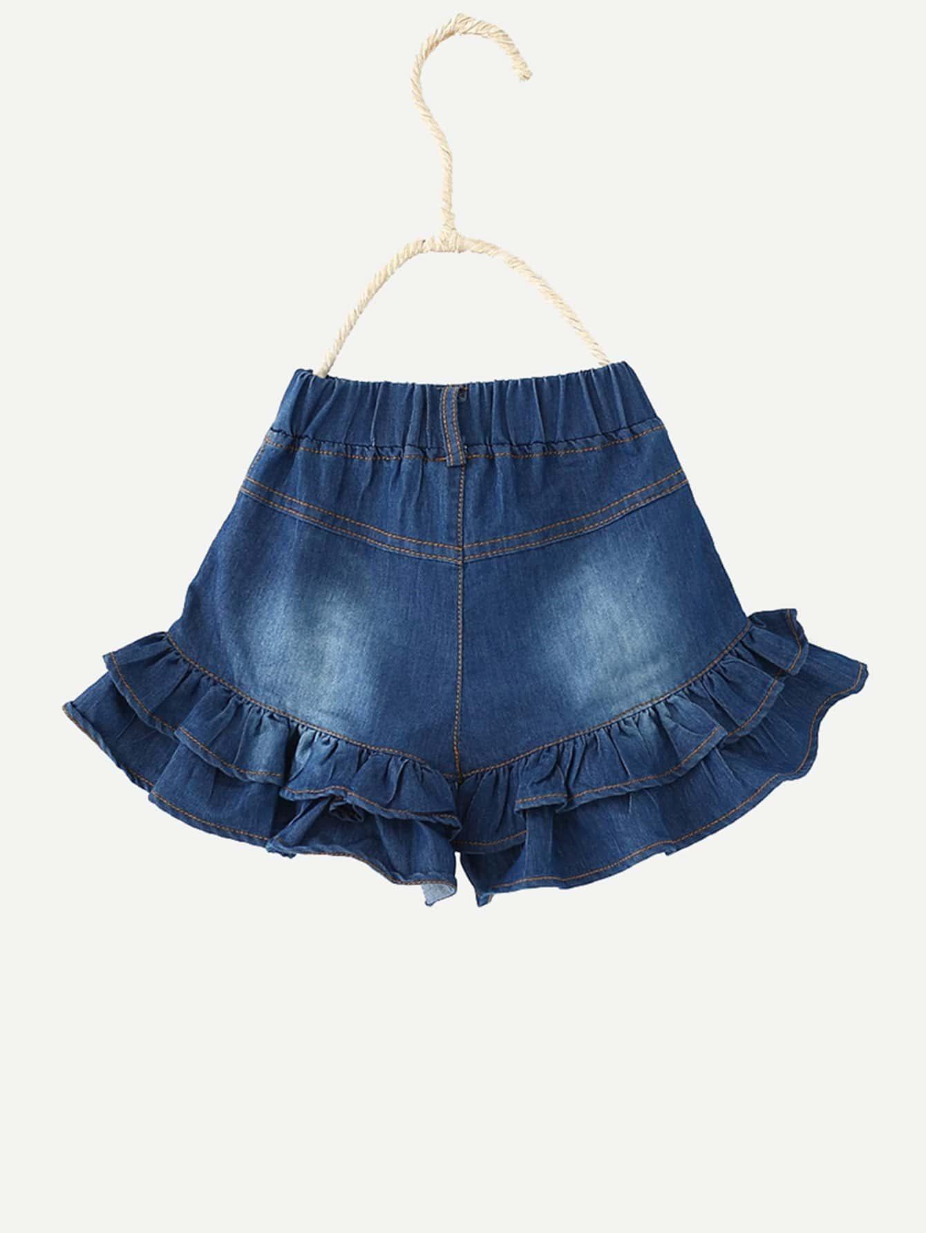 Купить Низ-оборка Синий Джинсовые изделия для девочек, null, SheIn