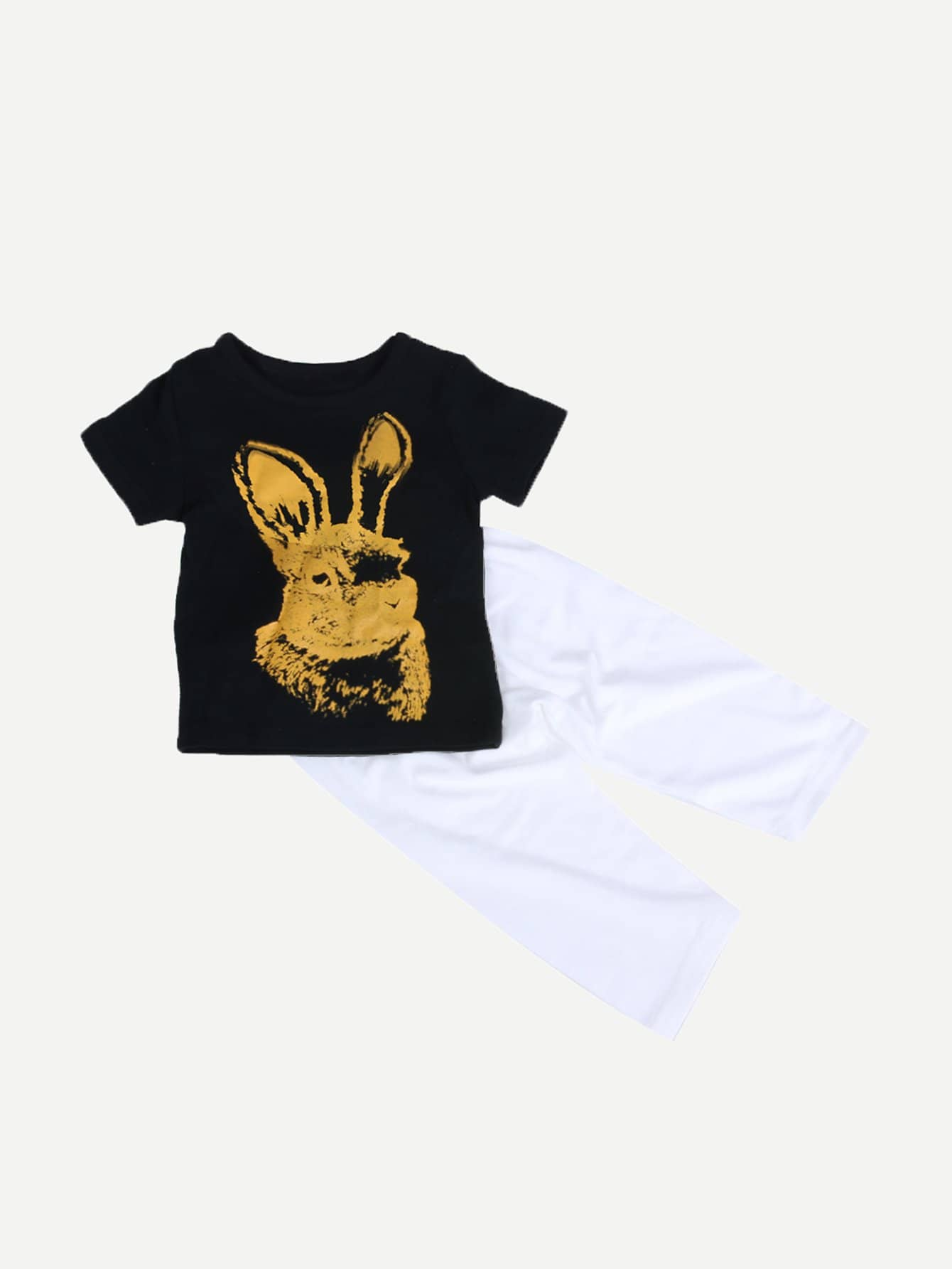 Boys Rabbit Print T-shirt With Pant rabbit print pullover