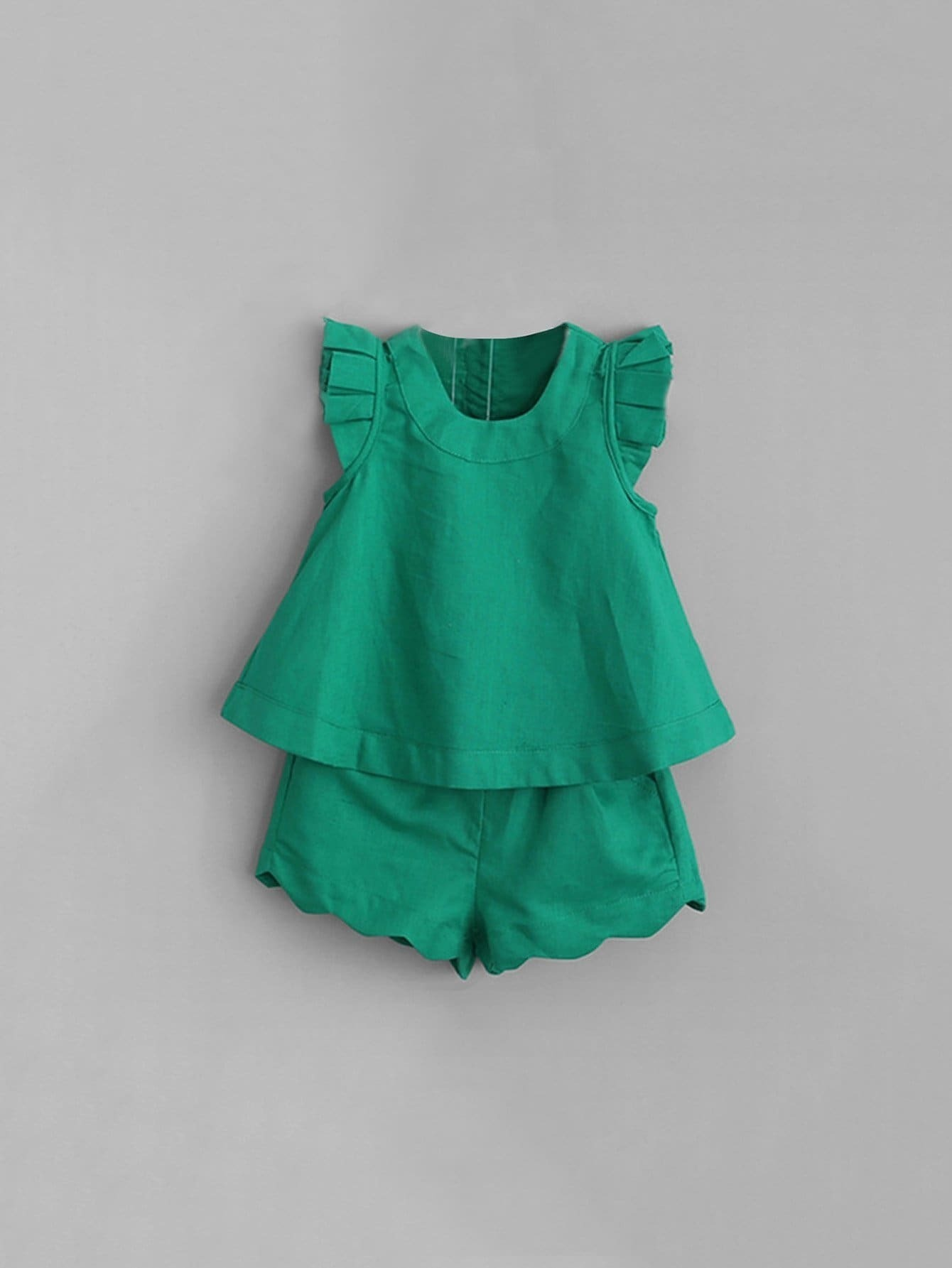Kids Frill Sleeve Top With Ruffle Hem Shorts pearl beading frill hem textured top