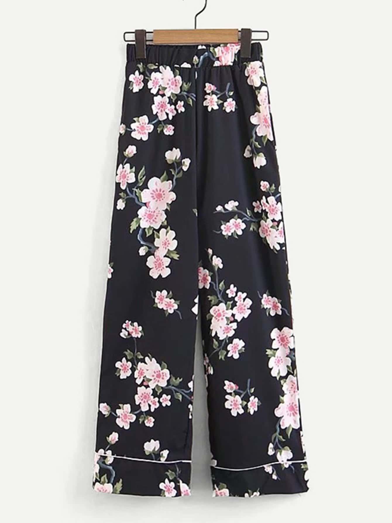 All Over Florals Wide Leg Pants all over florals dip hem shirt
