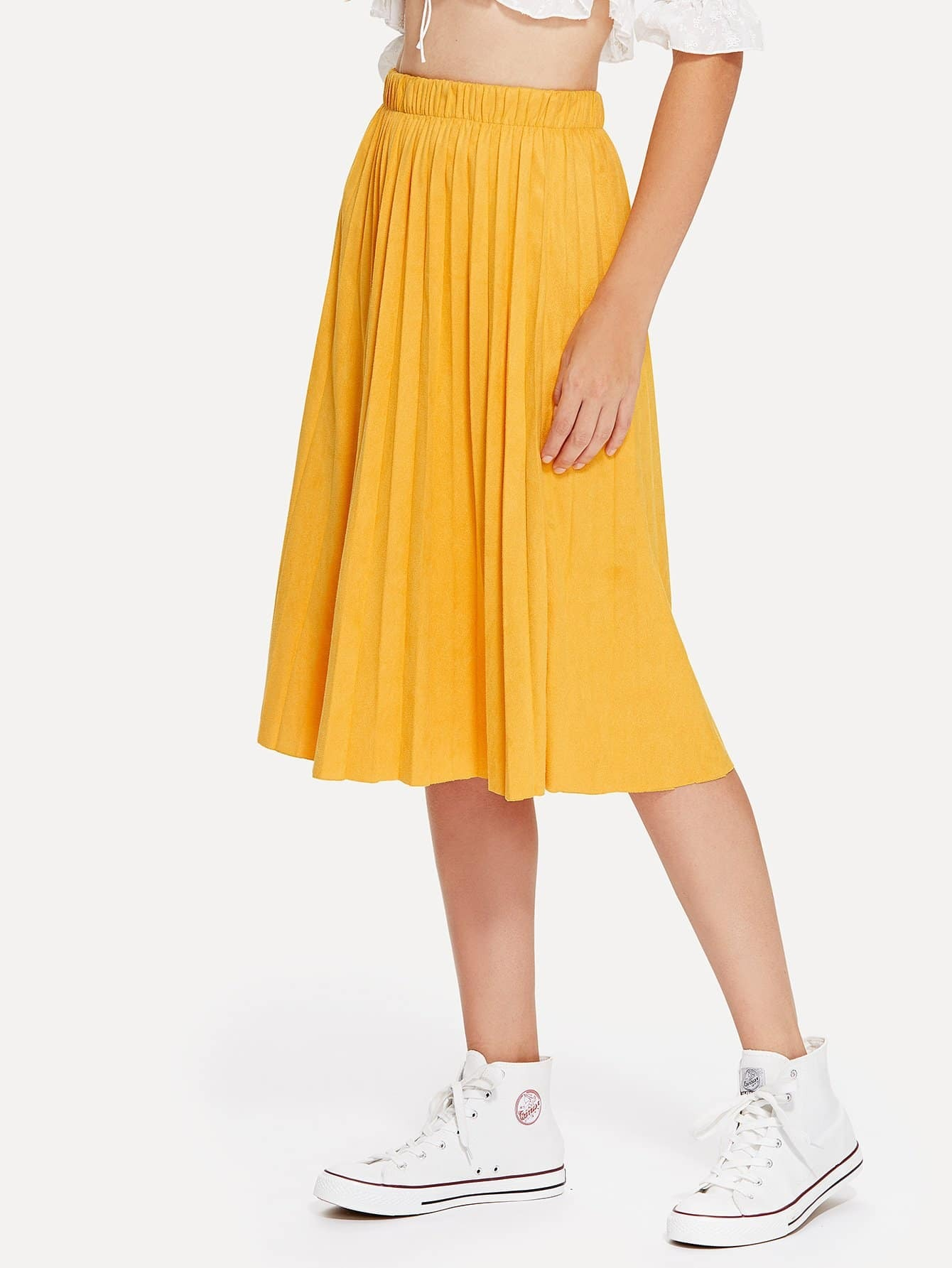 Solid Suede Pleated Skirt box pleated suede skirt
