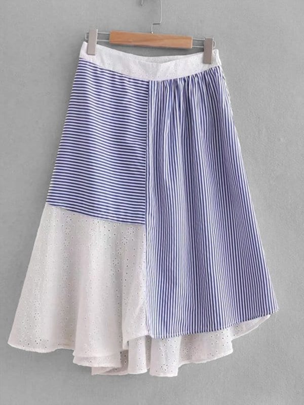 Eyelet Embroidered Contrast Stripe Asymmetric Skirt contrast stripe asymmetric hem skirt
