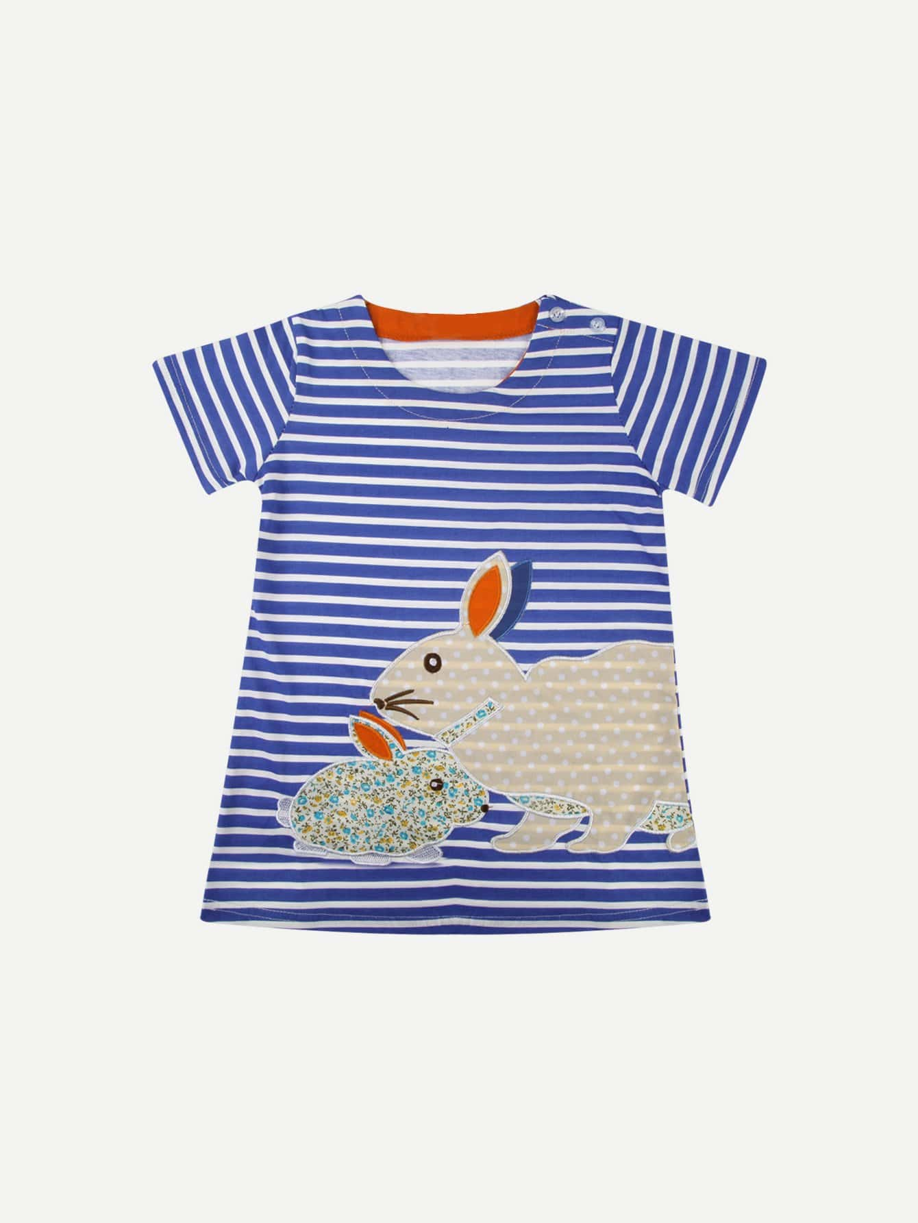 Kids Rabbit Embroderied Striped Dress