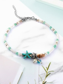 Faux Pearl & Shell Detail Beaded Anklet