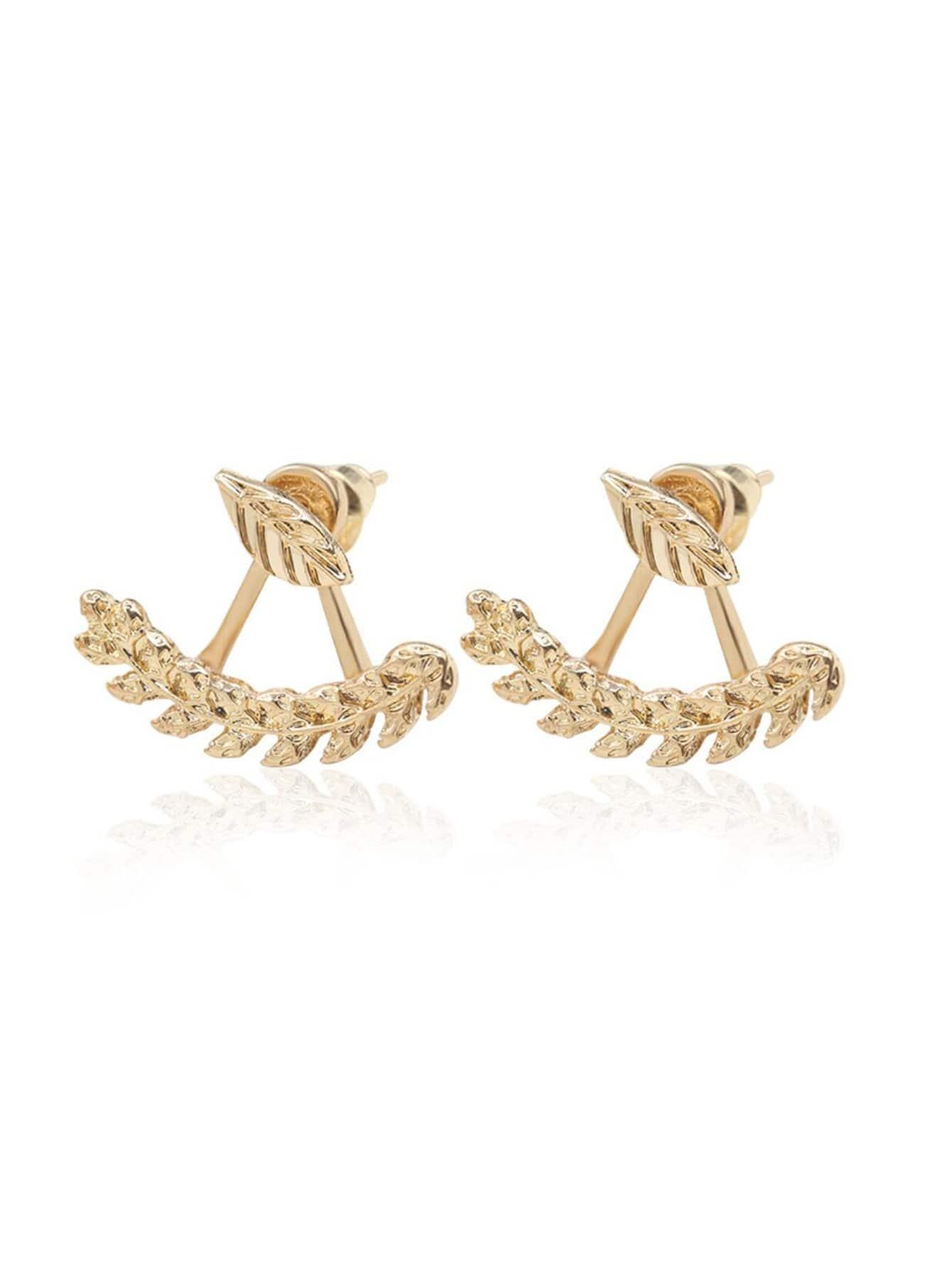 Leaf Shape Swing Stud Earrings
