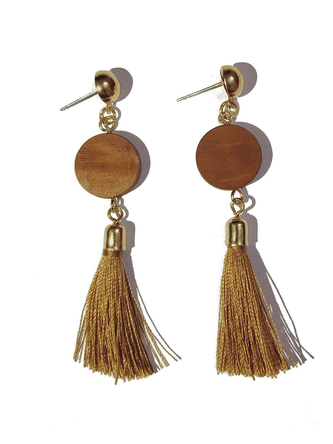 Round Detail Drop Earrings