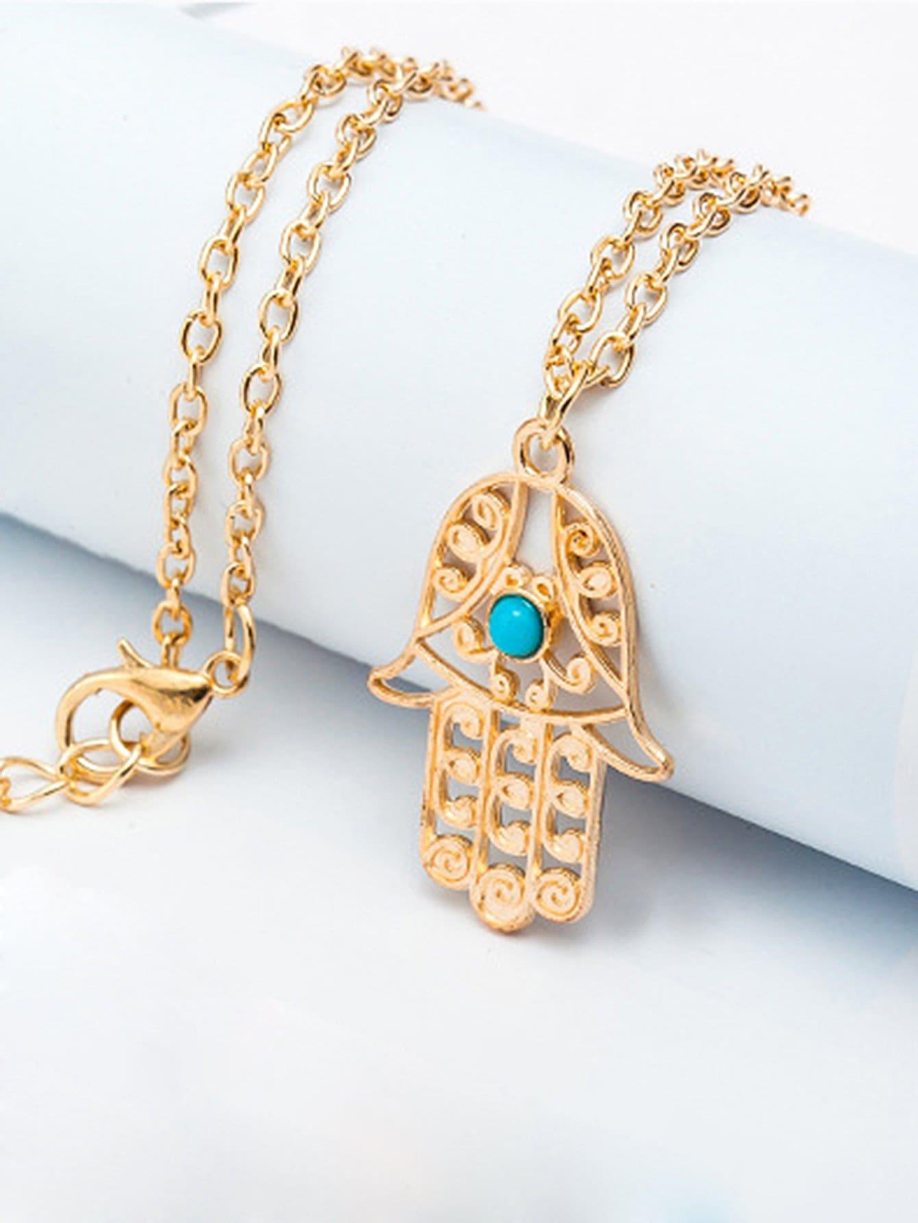 Hollow Design Pendant Chain Necklace